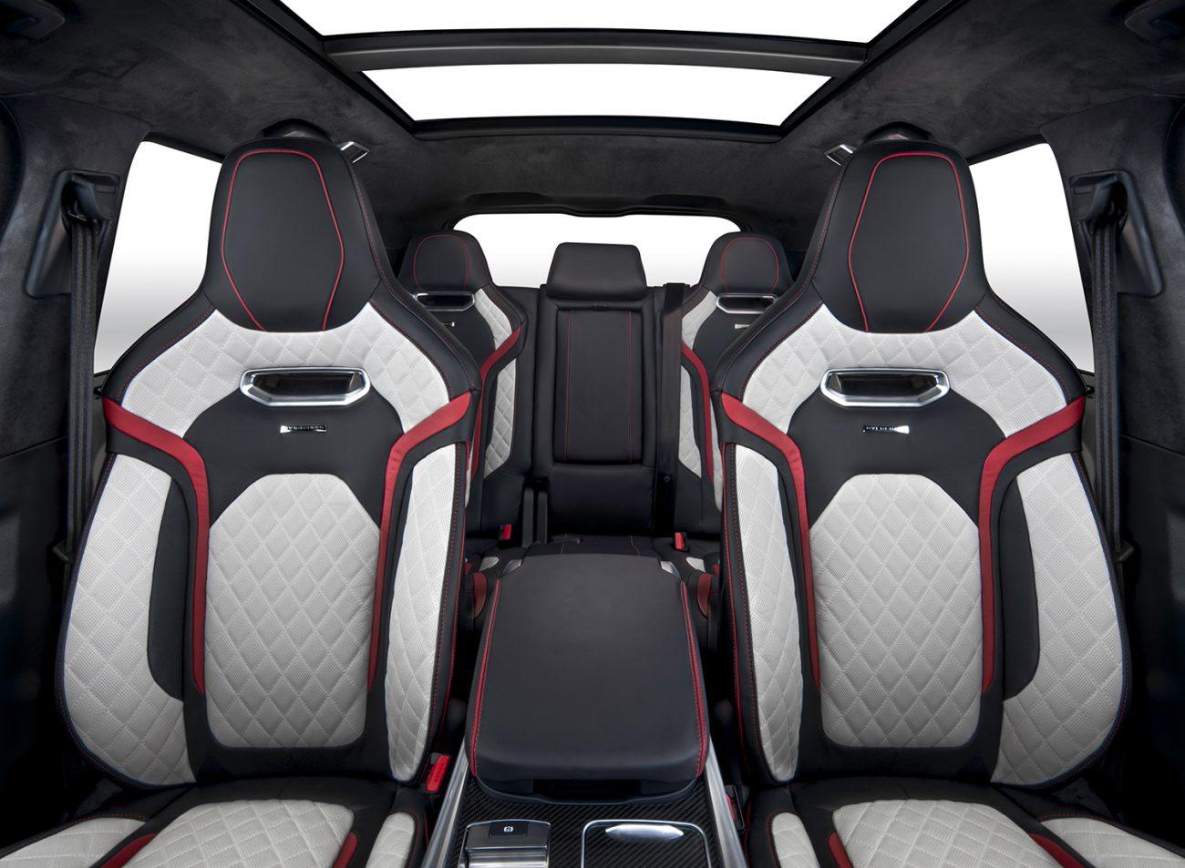 Overfinch bespoke interior in white red and black for Range Rover Sport SVR